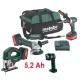 5,2 Ah 18V Combo set Metabo/aku skrutkovač, uhlová brúska, priamočiará píla, lampa